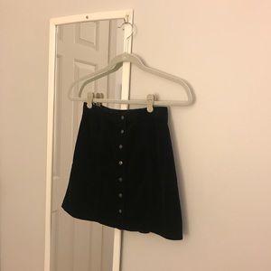 Black velvet button front skirt